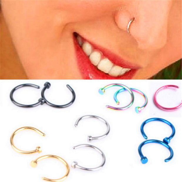 Fashion Fake Septum Medical Titanium Nose Ring Piercing Silver Gold