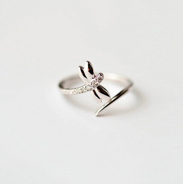 Simple Zircon Dragonfly Engagement Rings For Women S925 Sterling