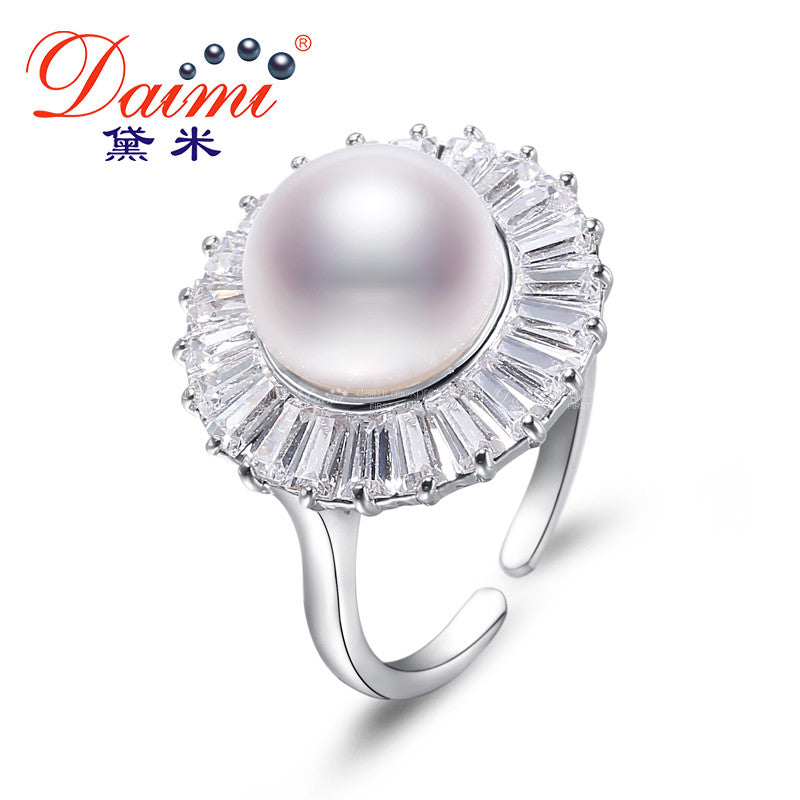 Daimi 10-11MM White Freshwater Pearl Ring Big Fashion Style Gift For