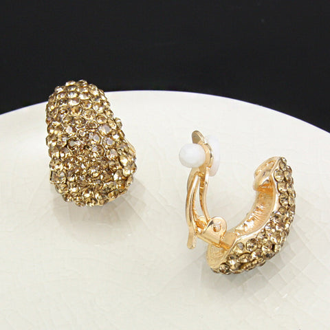 Gold Plated Rhinestones Clip Earrings without Piercing Crystal No