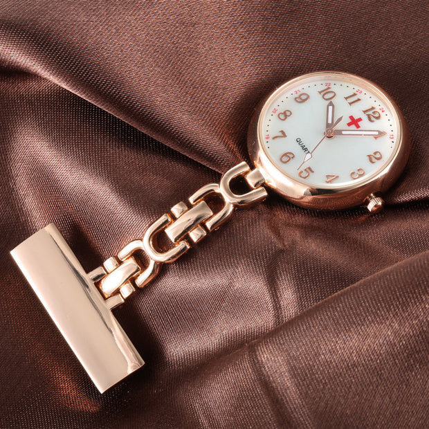 New Luxury Round Dial Clip-on Fob Nurse Pocket Watch Quartz Brooch