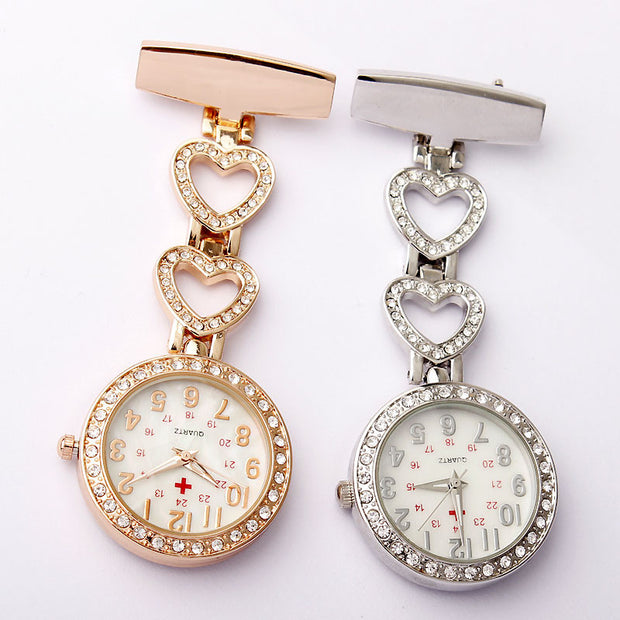 Fashion Full Crystal Dial Steel Nurses Pin FOB Watch Clip-on