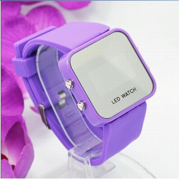 New Square Mirror Face Silicone Band Digital Watch Red LED Watches