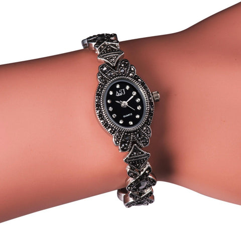 Ladies Black Vintage Bracelet Watch, Women's Watches for Small Wrists, Girls Quartz Watch