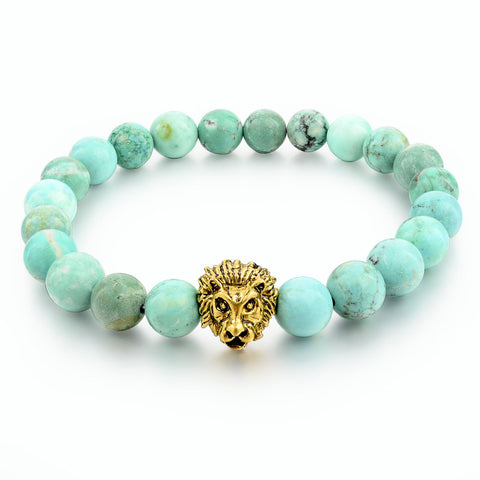 Green Natural Stone Gold Lion Strand Bracelet Femme Beads Famous Brand Bracelets With Stones Turkish Men Jewelry 2016 SBR160001