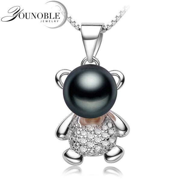 Freshwater Pearl Pendant Necklace 925 Silver Women,Real Black