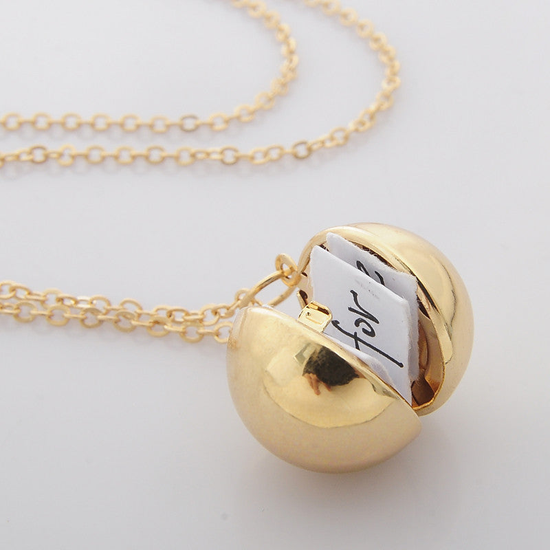 Custom Handmade Secret Message Ball Locket Necklace Friendship Best