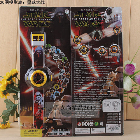 Star Wars Cartoon Kids Projection toy Watches 20 Different Patterns images projector and watch 2 in1 also display time and date