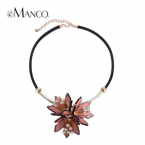 eManco Trendy Pink Flower Statement Choker Necklaces & Pendants Women PU Leather Chain Rhinestone Top Brand Jewelry