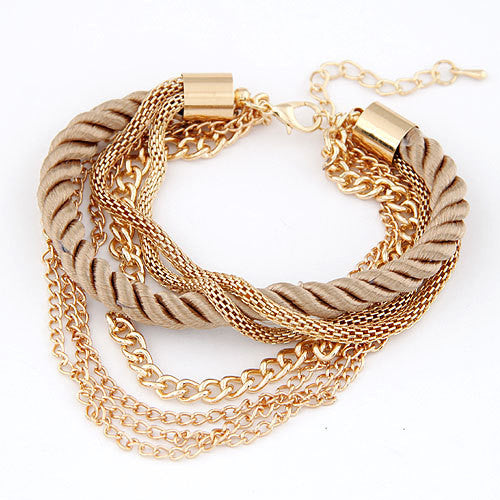 Charm Bracelet for women Fashion Jewelry Gold Chain Braided Rope