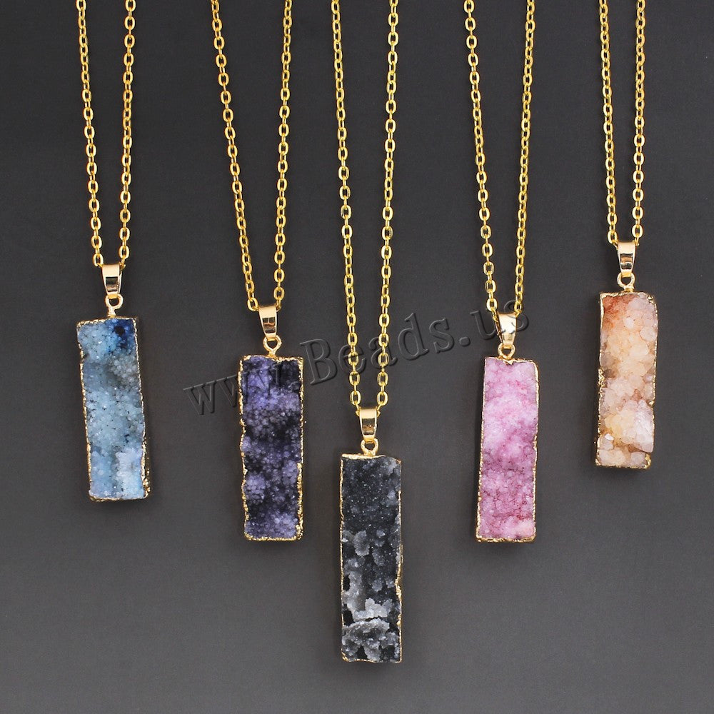 Women's Colorful Natural Stone Necklace Amethyst Pink Quartz Druzy