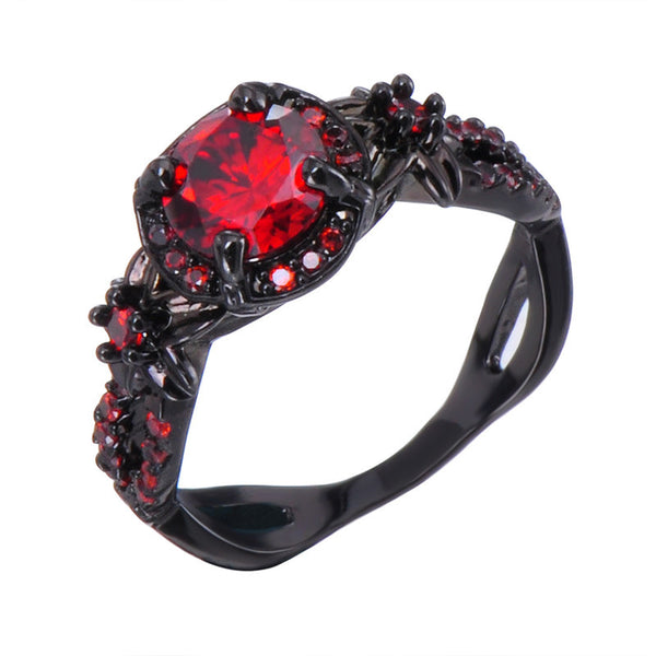 red wedding rings classic ring black gold filled cz finger rings for 7038