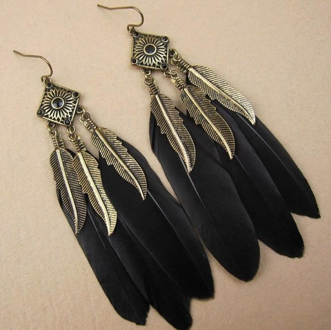 Feather Drop Dangle Earrings For Women Jewelry Pendientes Bohemian Boucle d'oreille Femme Brincos Big Earrings