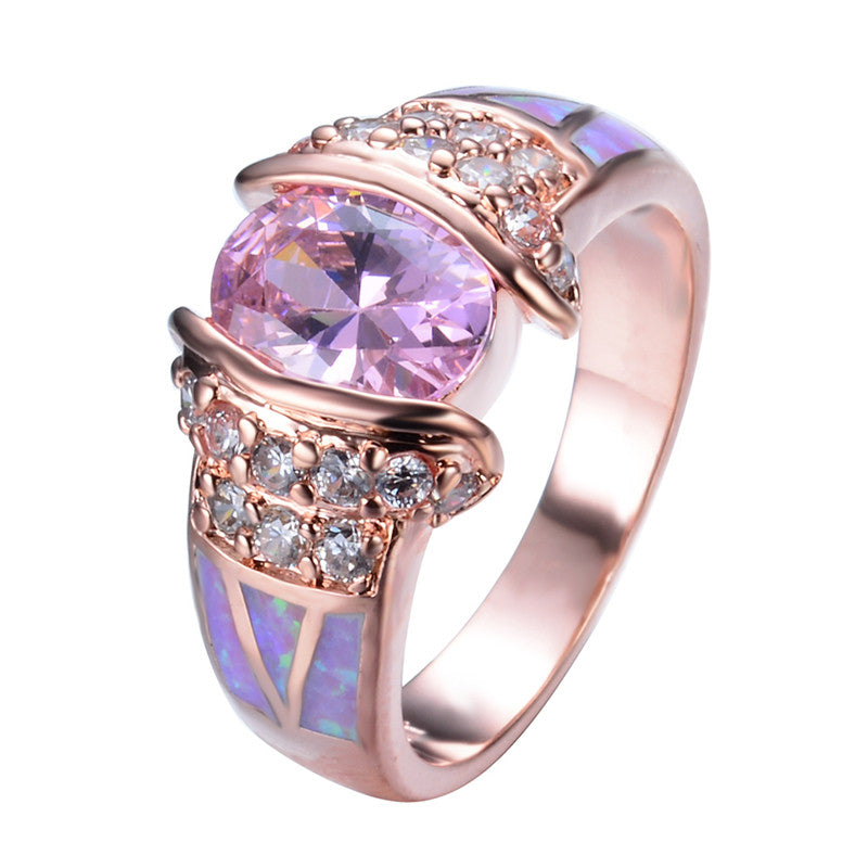 Rose Gold Filled Unique Design Pink Fire Opal Ring Crystal Fashion