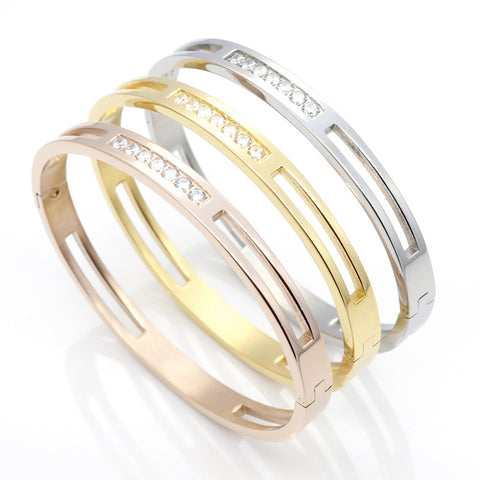 CZ Zircon 316L Titanium Stainless Steel Love Cuff Bangle Gold Plated Crystal Brand Lover Charm Bracelets & Bangles For Women Men