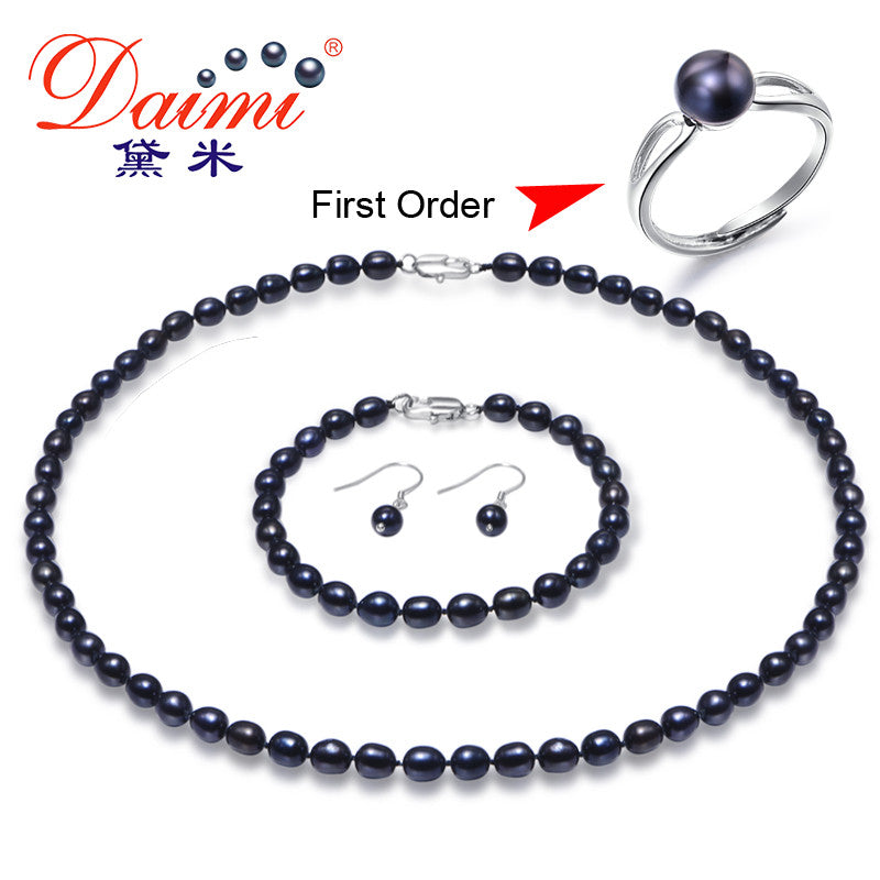 DAIMI 6-7mm Black Small Rice Pearl Jewelry Sets Necklace Bracelet