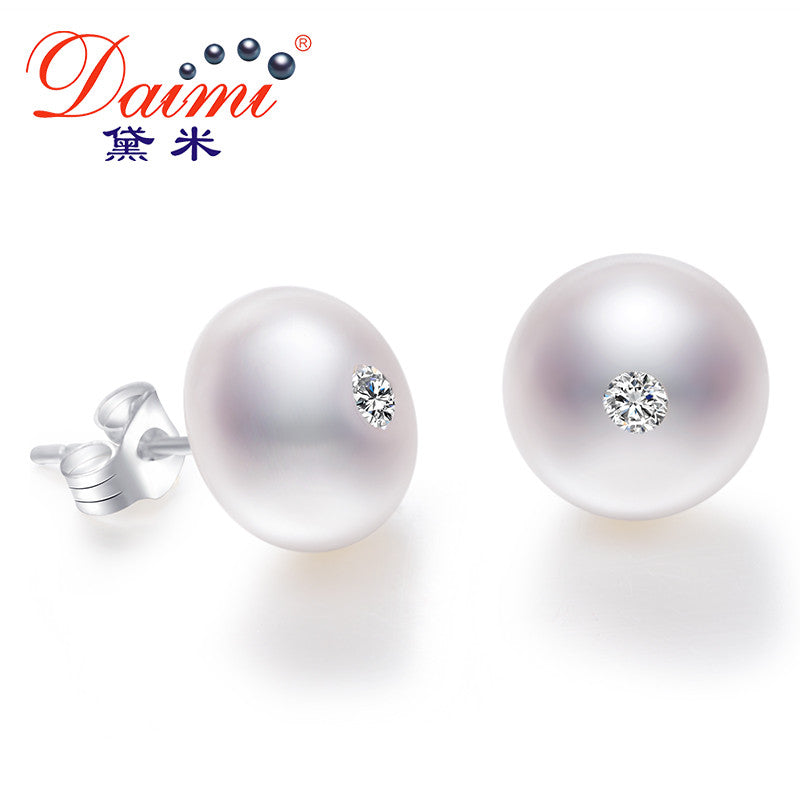 DAIMI 10-11mm Big Natural White Pearl Studs Earrings Shinny Crystal