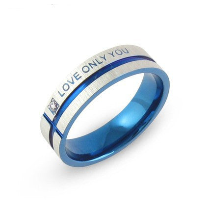 Stainless Steel Wedding Bands blue Couple Rings Korean Jewelry Lovers,