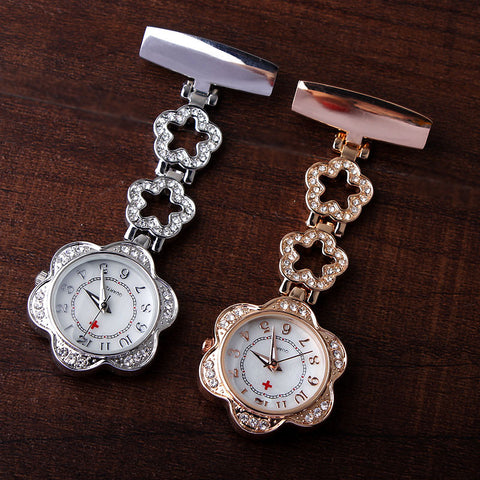 Luxury Clip-on Fob Quartz Brooch Flowershape Hanging Nurse Pin Watches Crystal Men Women Full Steel Pocket Watch relogio Clock