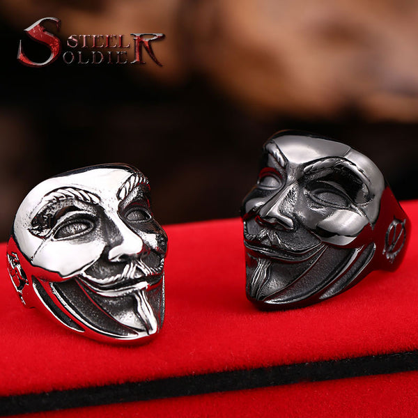 Steel soldier new design Guy Fawkes Mask film style ring stainless steel V for vendetta trendy men mask jewelry BR8-208