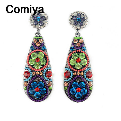 Comiya Bohemian Fashion Jewelry 2016 Vintage colorful flower dangle earring brand brincos pendientes Drop earrings for women