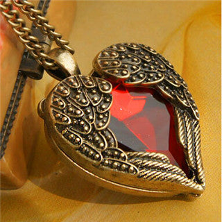 x306  Palace retro red  imitation jewelry peach heart  long necklace