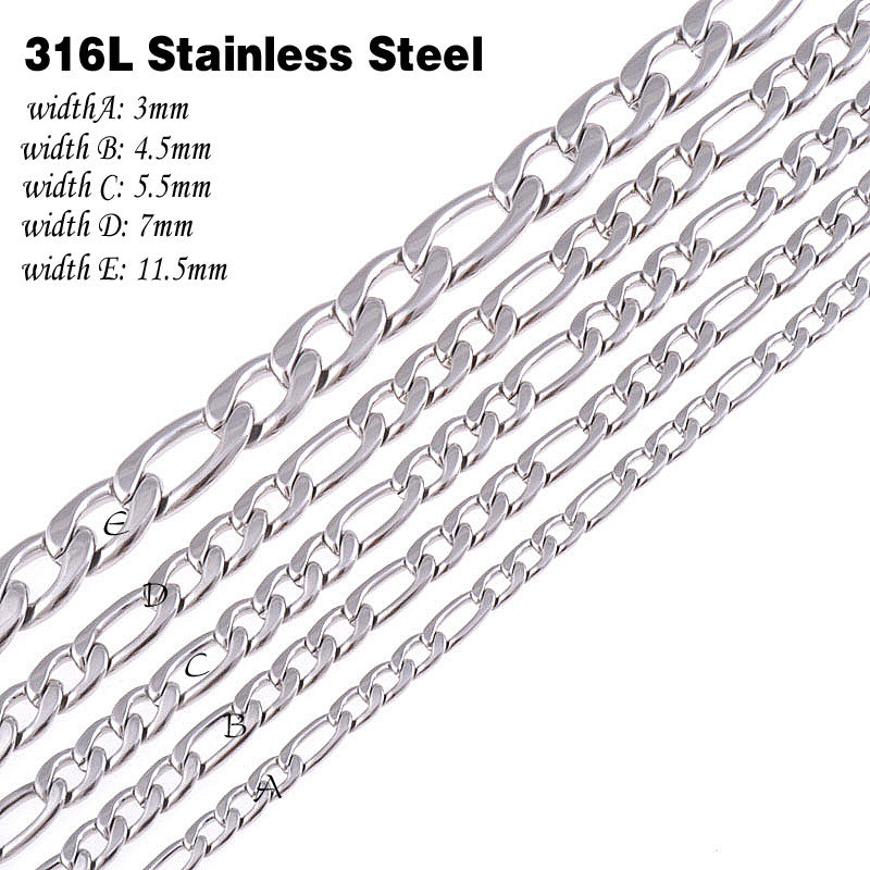 CUSTOMIZE SIZE 316L Stainless Steel Necklace chain Silver Color Figaro