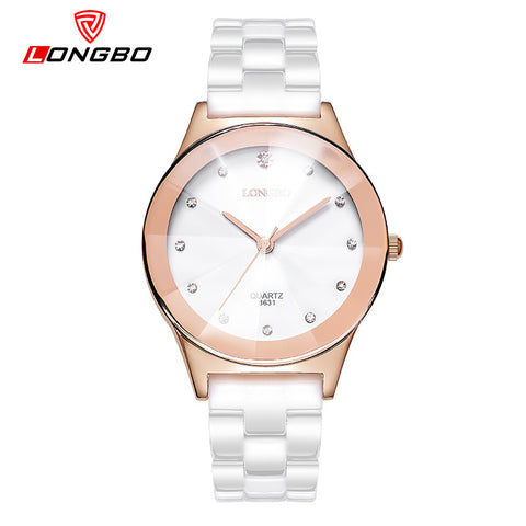 LONGBO Female Ceramics Strap Watches Rose Gold Dial Boys and Girls Wrist Watches For Lovers Quartz Watch Women With Crystals