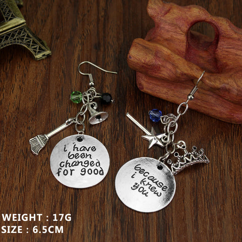 "DIY hand-carved Wicked the Musical Drop Earrings ""I Knew You, I Have Been Changed For Good"" Ladyfirst For Women Gifts Jewelry"
