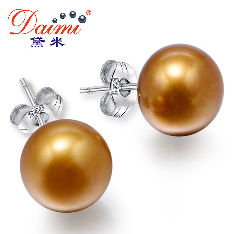 Daimi Brown Freshwater Pearl Earrings 4 Size For Choice Trendy 925