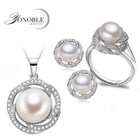 Wedding freshwater pearl jewelry sets women bridesmaid jewelry sets luxury natural pearl earrings sets ring fine jewelry