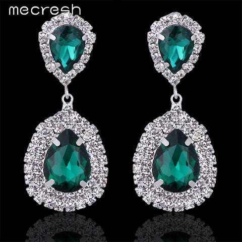 Mecresh New Design Green Crystal Teardrop Bridal Earrings for Women Fashion Jewelry Big Earrings Christmas EH100