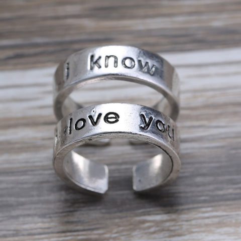 I Love You - I Know -  Silver Couples Ring Set Anniversary Ring Set Wedding Bands ring for women men