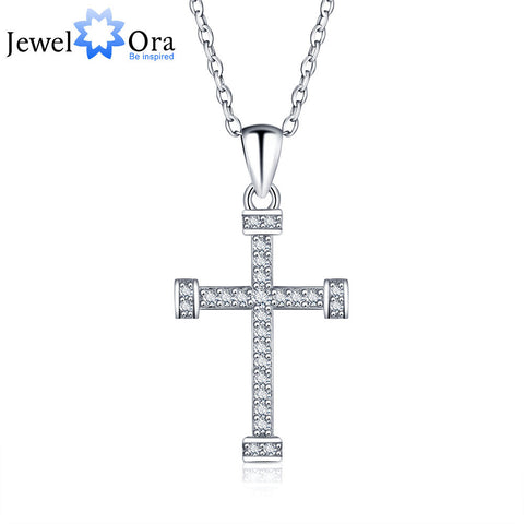 Cross Shape 925 Sterling Silver Necklaces & Pendants For Women New 2016 Cubic Zirconia Pendant Necklace (JewelOra NE101168)