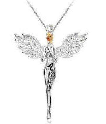 Charming necklace angel wing Pendant Necklace with full crystal jewelry for women multi colors  LM-N017
