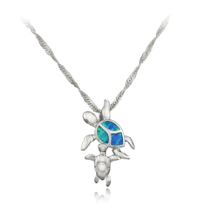 Free Chains Cute Blue Pink White Brown Green Fire Opal Turtle Pendant