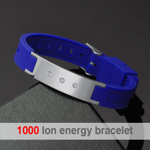 Hottime New Fashion Women Bracelet Magnetic Energy Fashion Jewelry With Blue Color Men Sport Hologram Bracelets Bangles NW001