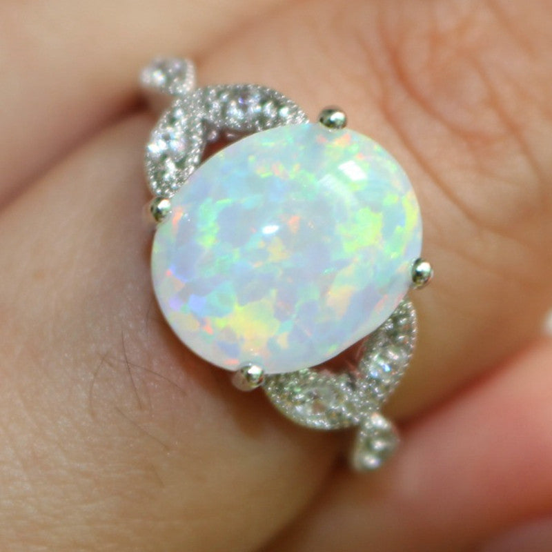 Size 5 6 7 8 9 10 11 925 Sterling Silver Oval Cut Fire Opal Ring