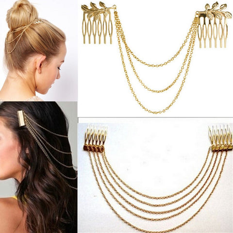 Metal Tassel Chain Headband Women Hair Accessories Clip Hair Comb Bridal Ladies Leaf Headwear Free Shipping