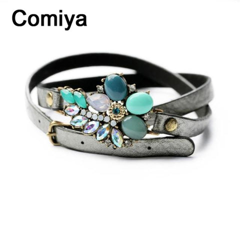 Comiya Fashion green flower long leather pu vintage wrap Bracelet Lace-up bracelets & bangles acrylic jewelry for women cc
