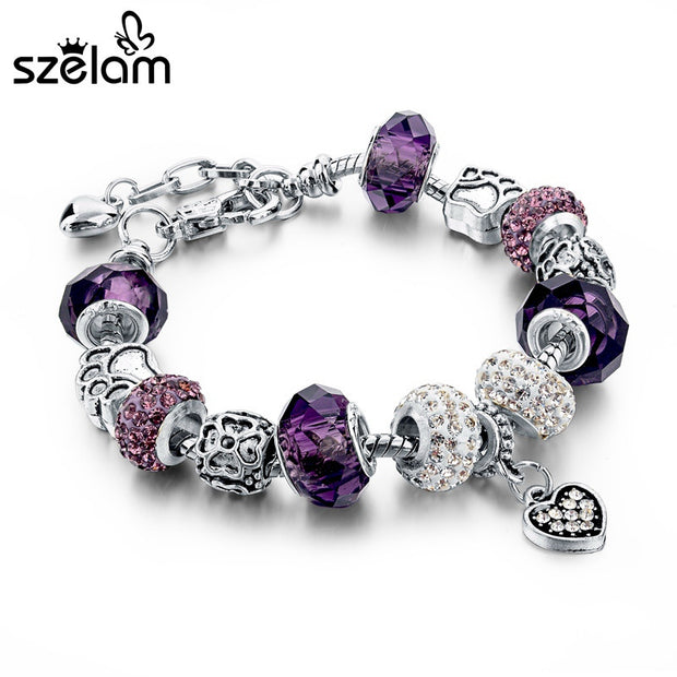 Szelam Gift!!! Fashion DIY Crystal&Glass Beads Charm Bracelets For