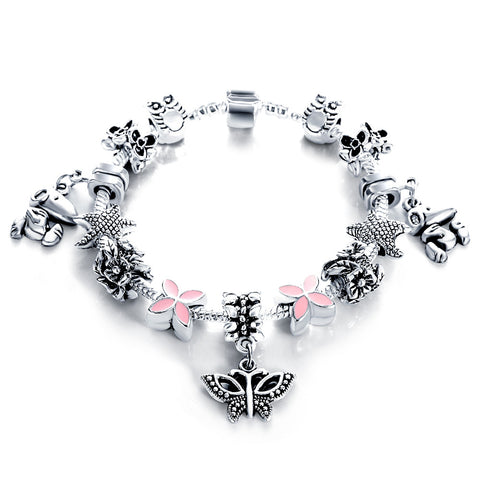 European Authentic Silver Antique Bracelets & Bangles for Women Bead Fit Charm Bracelets Manchette Pulseira Jewelry Gift