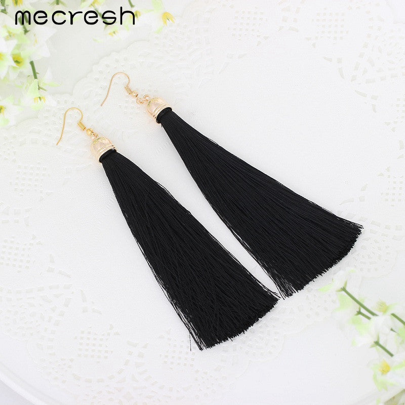 Mecresh 5 Colors Fiber Tassel Long Drop Earrings for Bridal Women Gold