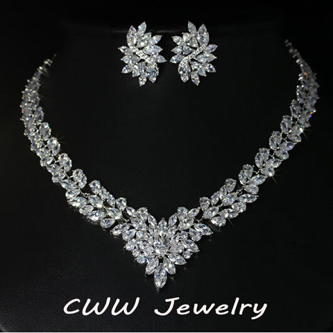 Super Luxury Bridal CZ Diamond Jewelry White Gold Plated African Design Wedding Zirconia Beads Jewelry Sets For Brides  T146