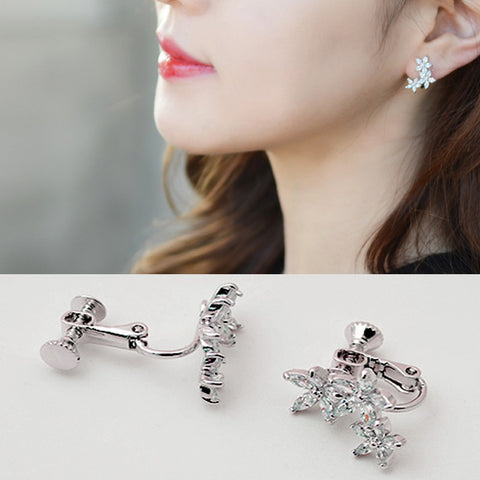 Fashion Jewelry flower earrings Cute Zircon Leaf Clip Earrings for Women Girls Crystal Wrap Ear Cuff Earrings Jewelry  Brincos