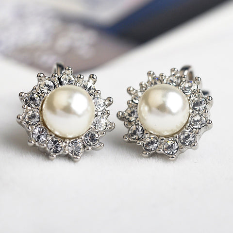 New Italina CZ Diamond clip earrings for women Silver Plated Pear