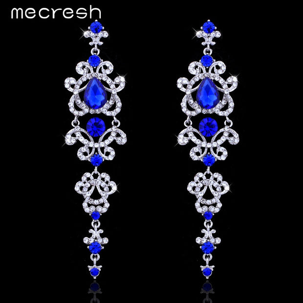 Mecresh Blue/Silver Color Chandelier Crystal Long Drop Earrings for