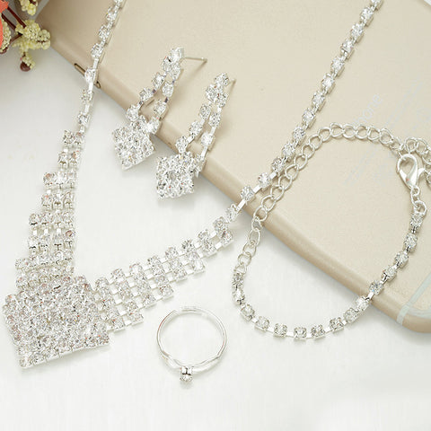 Elegant Full Crystal Silver Plated Chain Satement Necklace Dangle Earrings Bracelet Rings Set Wedding Party Bridal Jewelry Sets