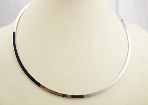 European style simple round circle Torques for women ladies metal silver wire necklace collar choker statement stainless steel