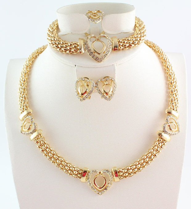 Free shipping hot sale heart design costume necklace set fashion top